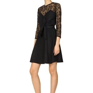 NWT THE KOOPLES RELIEF CREPE A-LINE BLACK DRESS